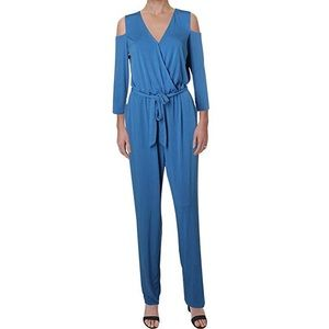 NY Collection blue quarter sleeve jumpsuit w belt